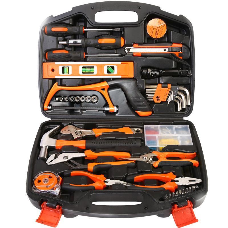 La cassetta degli attrezzi Elettrici domestico riparazione Manuale di manutenzione Hardware di Legno rivestiti di manutenzione Elettrica la combinazione di una serie completa di Tromba