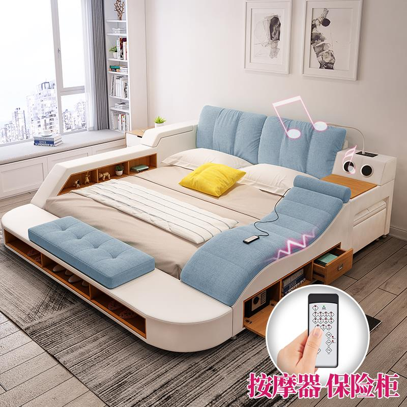 The master bedroom bed tatami multifunctional bed 1.8 meters double bed in modern and simple European large-sized apartment leather bed