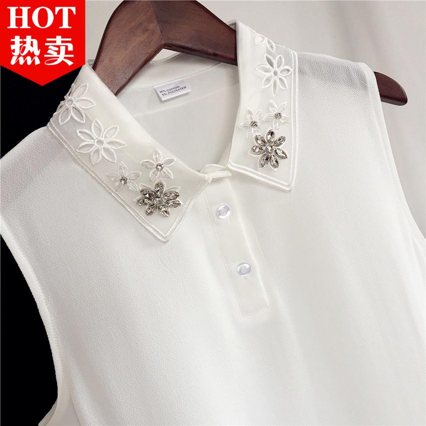 秋鼕職業裝鑲鑽POLO領翻領內搭假領子白色女士雪紡衫無袖襯衫