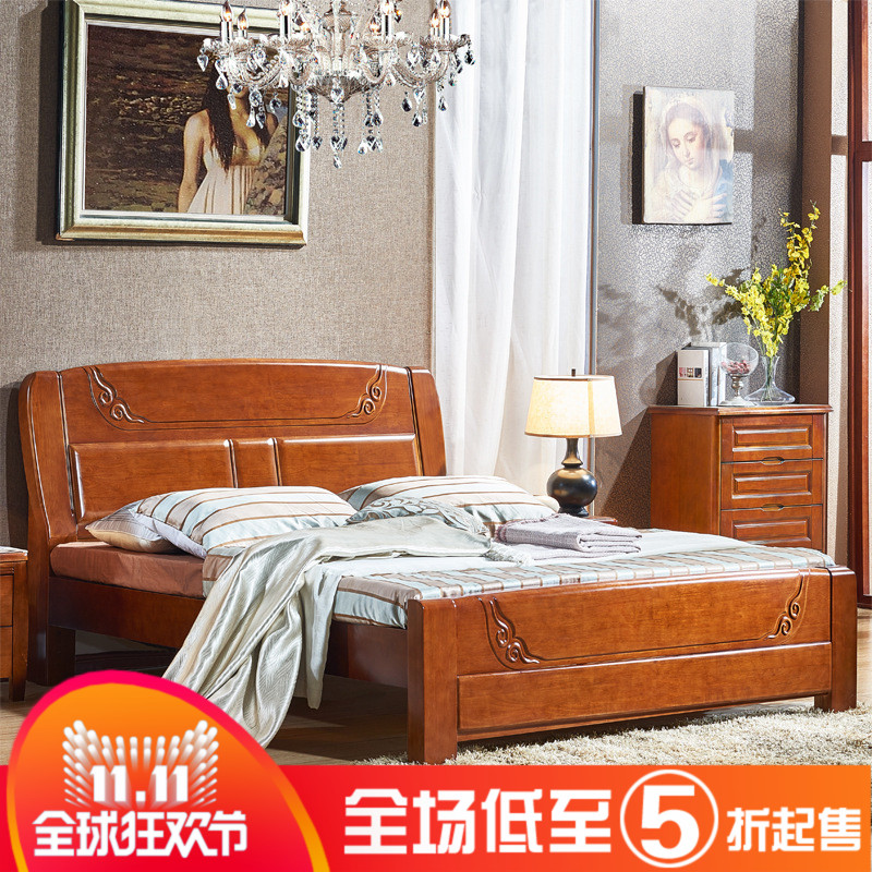 Shipping AA31 wood double bed 1.8 meters hard bed bedroom furniture of Chinese oak bed
