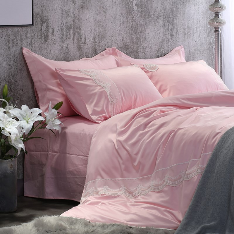 Ins bedding, washed silk, four pieces of lace, summer silk princess, ice silk, pure cotton sheet, pure cotton