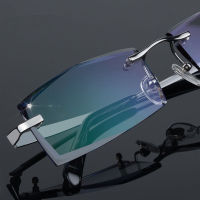 South Korea frameless pure titanium diamond cutting edge glasses, men's color myopia glasses, finished myopia frames, myopia glasses