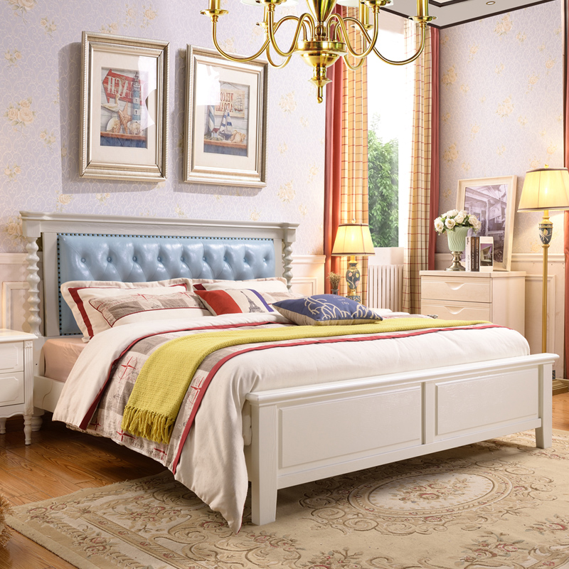 Small American bed, solid wood bed, double bed, northern European country furniture, 1.8 meter wedding bed, 1.5 meters Princess leather art bed