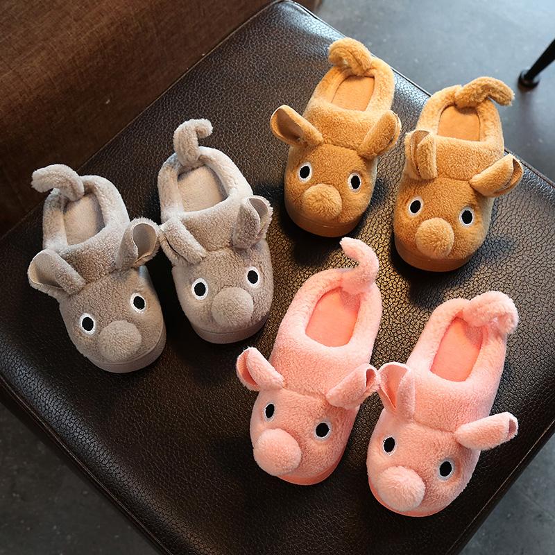 冬季可爱卡通儿童棉拖鞋男童女童室内家居棉鞋防滑毛毛拖鞋3-6岁
