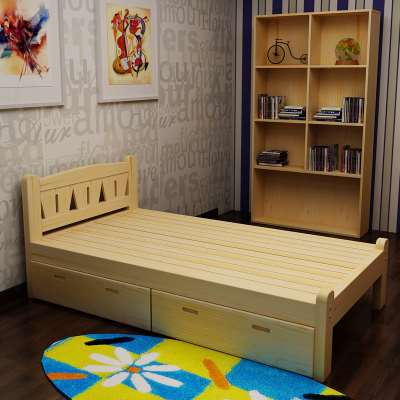 Solid wood bed, single bed, girls' bed, 1.2 meters children's bed, 1 meters, small bed, double bed, 1.5 meters, adult bed, male student