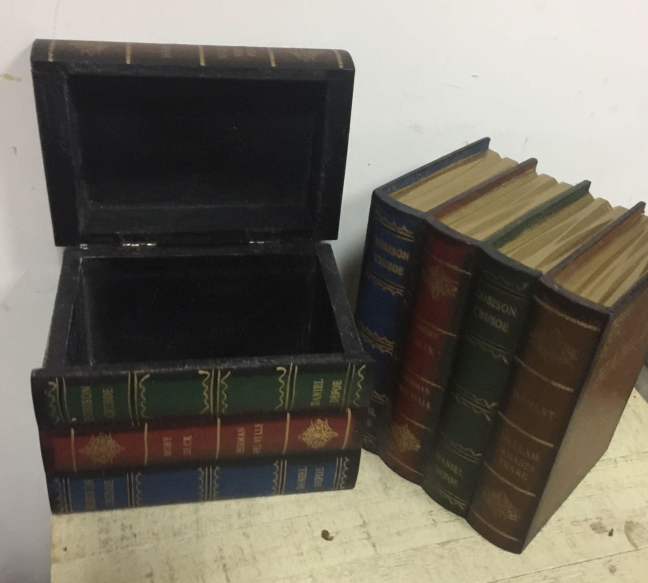 小號復古歐式木質書本造型收納盒桌面雜物收納盒書房書架裝飾書盒原69