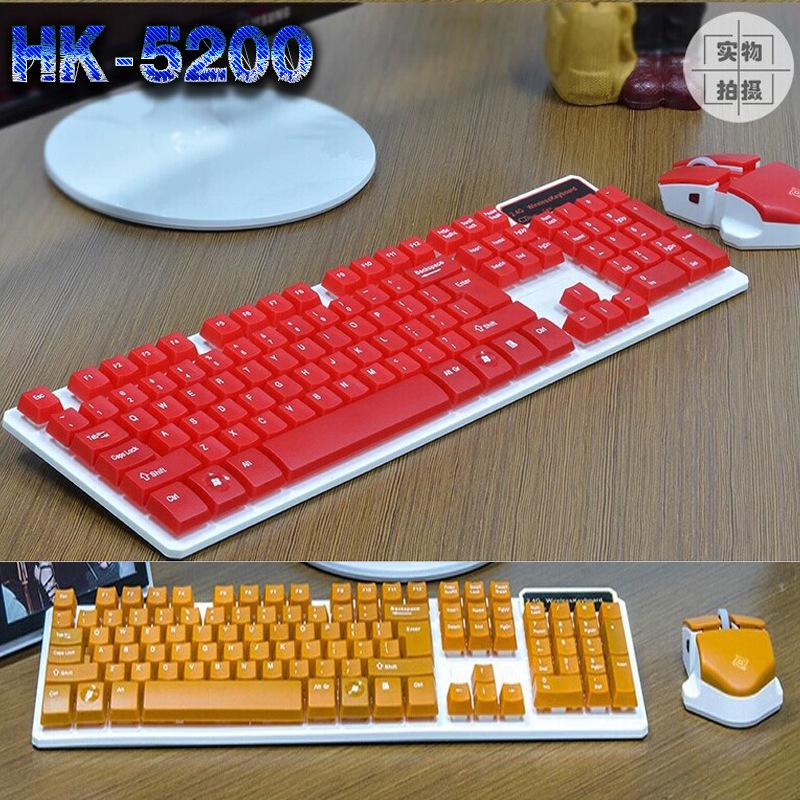اللاسلكية زر يشعر حقيقية HK5200 تعليق الميكانيكية مفتاح الماوس لوحة المفاتيح والفأرة لعبة المكاتب صامت