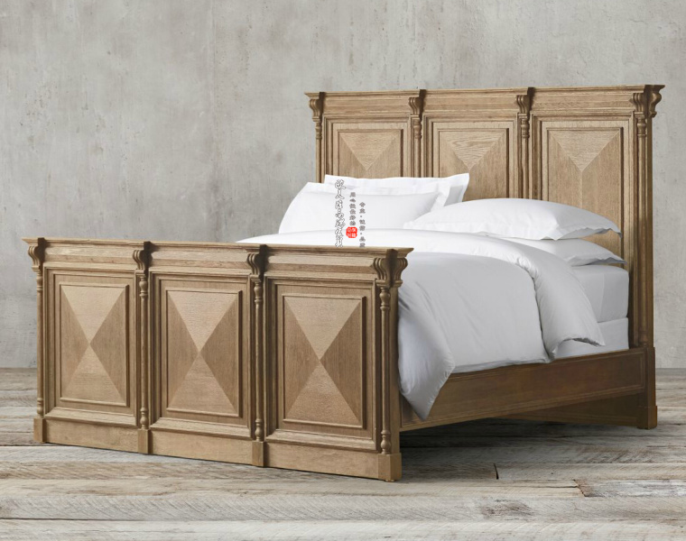 American country solid wood bed bedroom double bed 1.8 meters back to old oak beds, antique log color can be customized