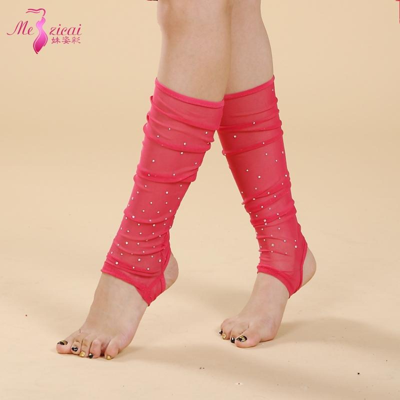 白色妹姿彩 肚皮舞襪子襪套 高檔燙鉆襪套 網紗襪子 堆堆襪