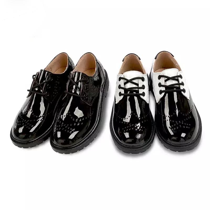 英伦儿童加绒皮鞋男黑色演出鞋中大童男童皮鞋真皮学生演出童鞋冬