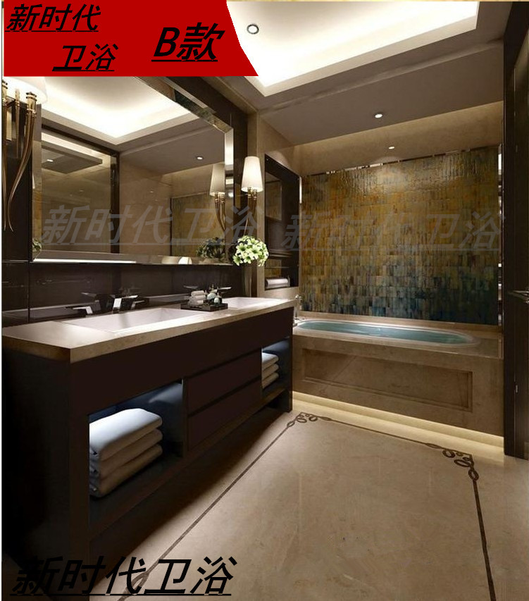 Custom made Nordic modern solid wood bathroom cabinet, Nordic oak bathroom cabinet, American double basin floor bathroom