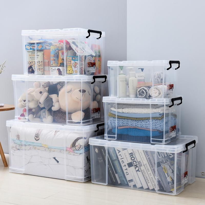 öppna lådan på hög nivå med plast behållare med lock fält lagrar trumpet logistik fält plast avrinningsområde