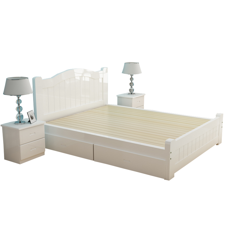 With double 1.81.21.5m meters simple all solid wood bed white pine bed princess bed single bed children's home