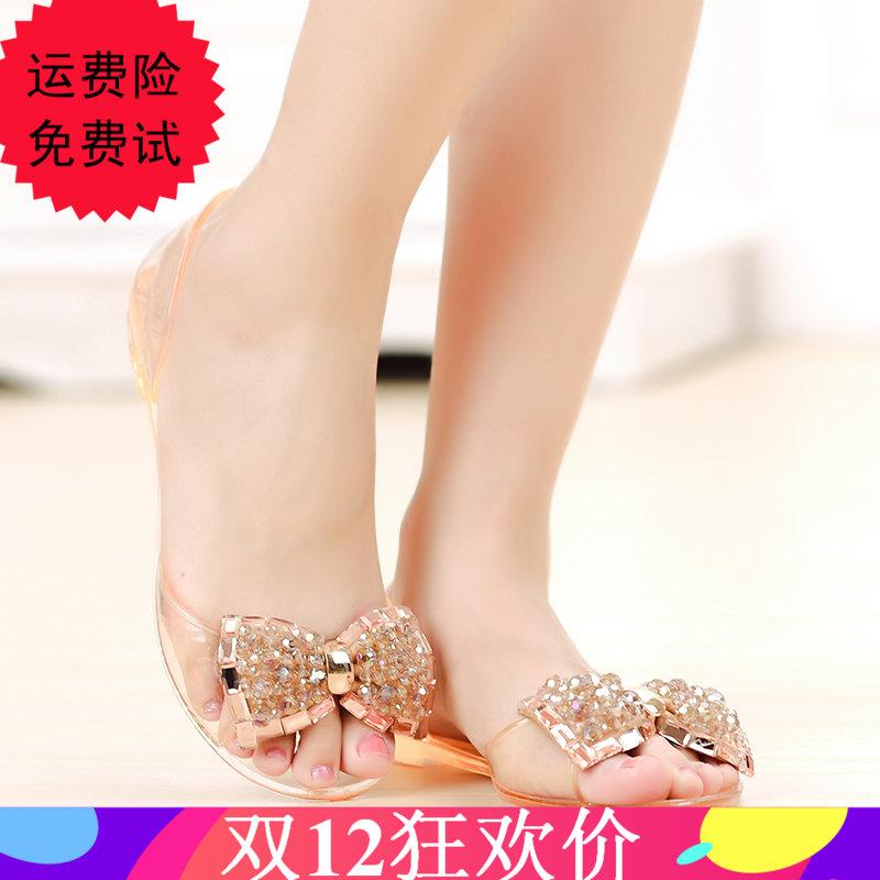 夏季果凍鞋女涼鞋防滑水晶鞋平底水鑽蝴蝶結沙灘鞋女鞋透明塑料鞋