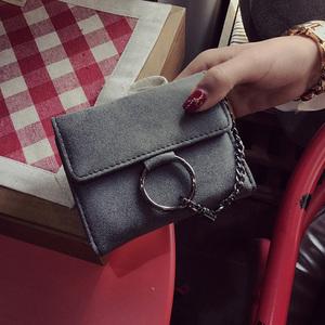 新款潮流时尚磨砂皮短款钱包铁圈链条挂件手拿包卡包百搭个性女包