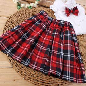 童装新款韩版中大童女童格子半身裙夏宝宝腰裙儿童百褶短裙演出服