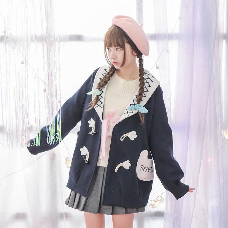 Áo khoác nữ tôn dáng màu xanh chất liệu dạ phong cách học sinh trẻ trung