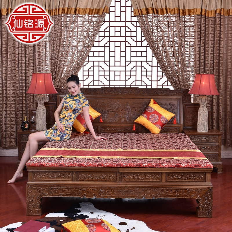 Mahogany furniture wooden bunk bed wood double bed Chinese antique Ming and Qing Dynasty classical mahogany bed