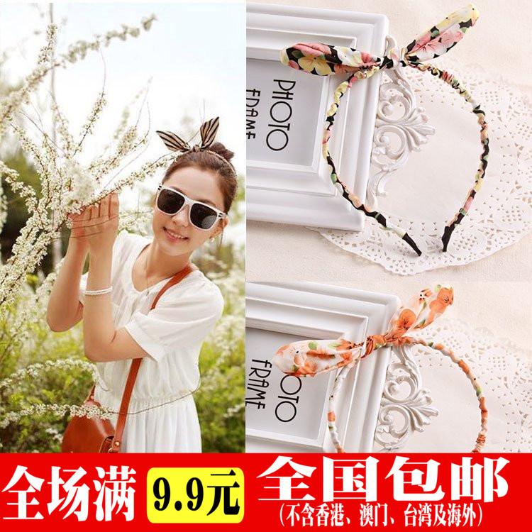 La Sra. De Corea del Sur Corea adultos los niños tocado pelo chica linda tela simple presión aro aro orejas de conejo