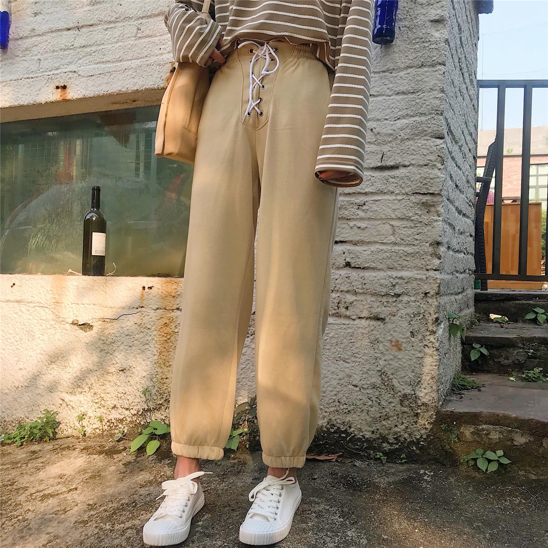 秋冬新款韩版宽松束脚灯笼裤绑带高腰显瘦九分裤加厚休闲裤女学生