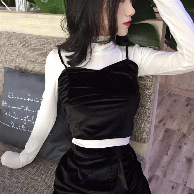 2017秋裝新款氣質絲絨弔帶 高腰繫帶闊腿褲套裝 修身純色T套裝女
