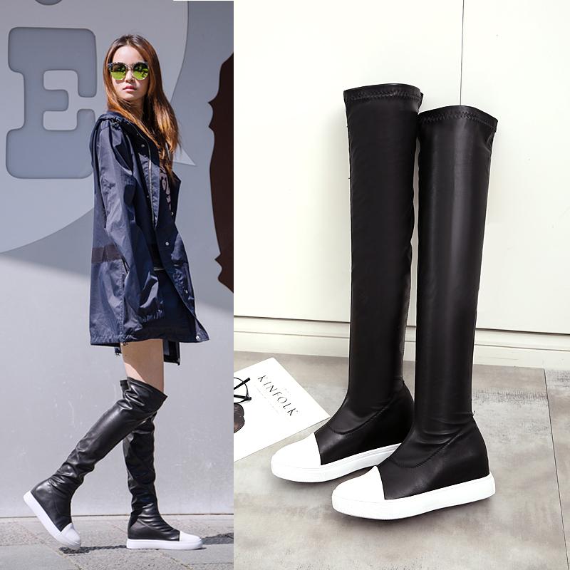 RO明星同款秋冬显瘦长筒女靴高筒瘦腿弹力靴平底内增高过膝长靴女