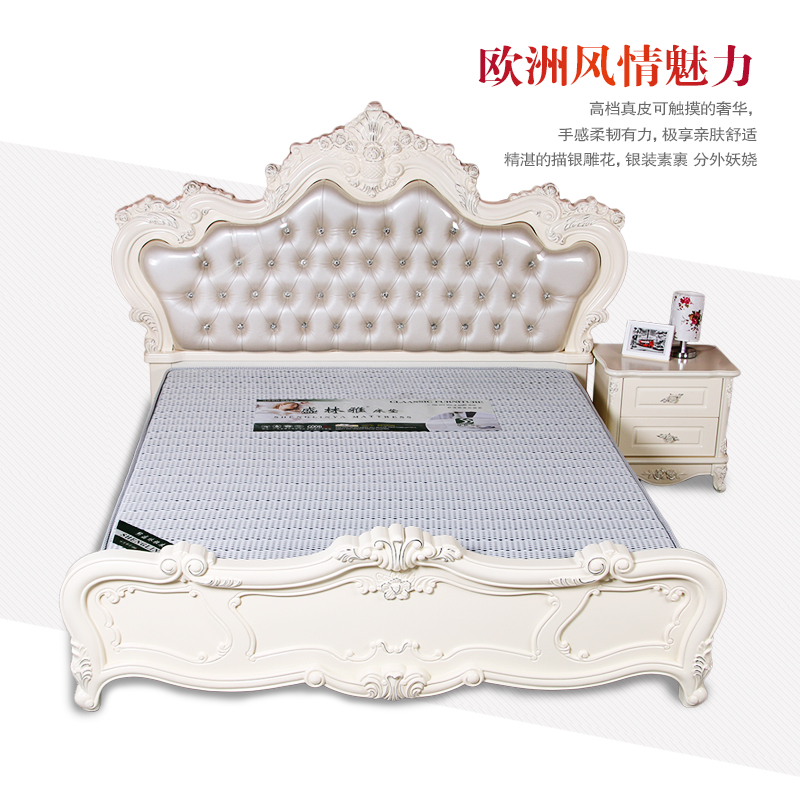 1.51.8 meters double bed bed European cattle leather bed Jane French wedding bed European style solid wood bed