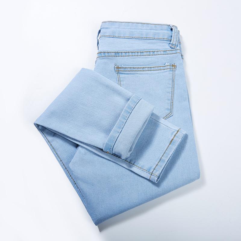 浅色牛仔裤女九分小脚裤韩版显瘦紧身弹力加绒学生黑色铅笔长裤子