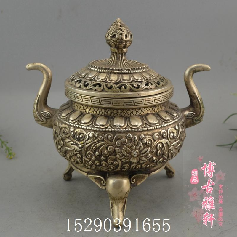 古玩收藏銅器純銅白銅黃銅鍍銀大象藏銅爐熏香爐裝飾工藝精品擺件