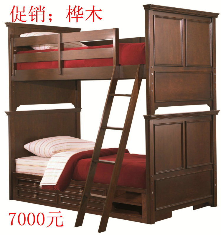 Children store up and down, solid wood furniture for children, custom made bed, log, American style, old boy bed and low bed