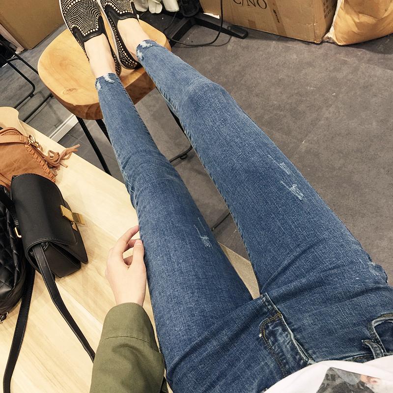 韓版新款牛仔褲女士小腳褲鉛筆褲子女式修身彈力高腰九分褲女裝