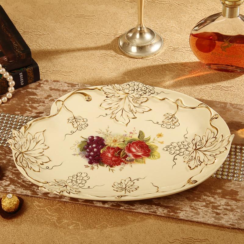 奶白色歐式陶瓷果盤奢華時尚果碗干果盤高檔果簍客廳擺設裝飾禮品