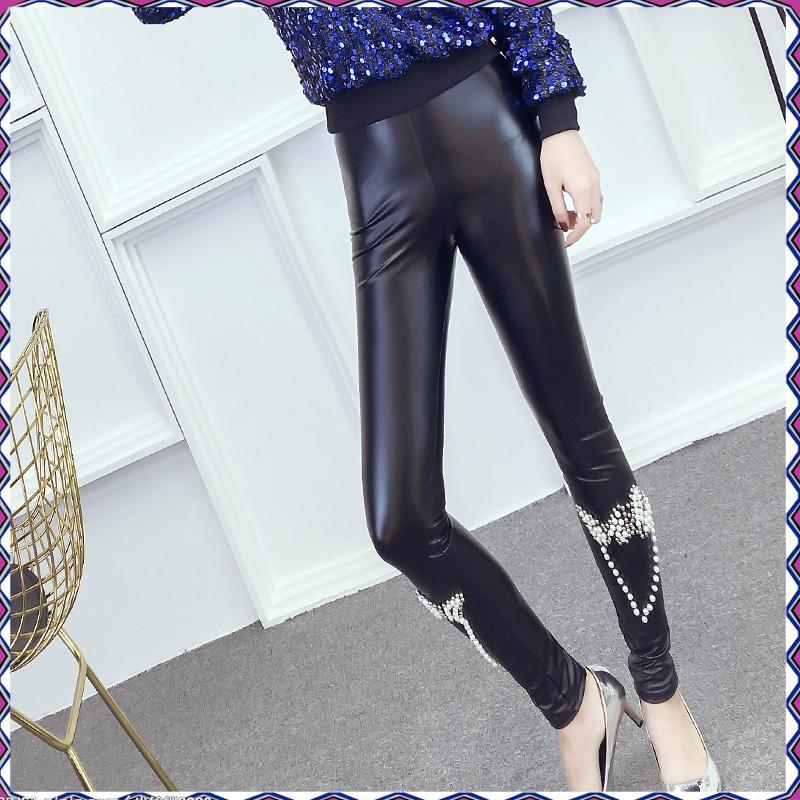 La Casa in autunno e inverno BIGKING Daikin Nini Joker la Moda di perline di indossare I pantaloni di Pelle Sottile - Pu.