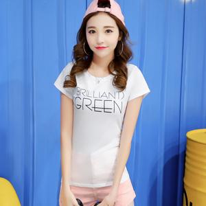 2017夏季短袖t恤女学生韩版宽松显瘦字母百搭女潮