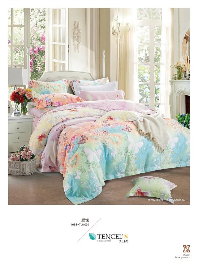 Manufacturers selling high-end bedding 60 double-sided sanding Tencel super soft velvet warm up four sets of butterfly Su