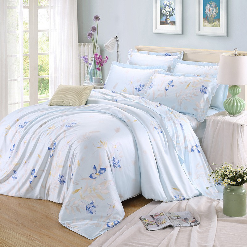 Tencel four sets of four sets of simple spring and summer 1.5 silk silk quilt bedding sheets 1.8m