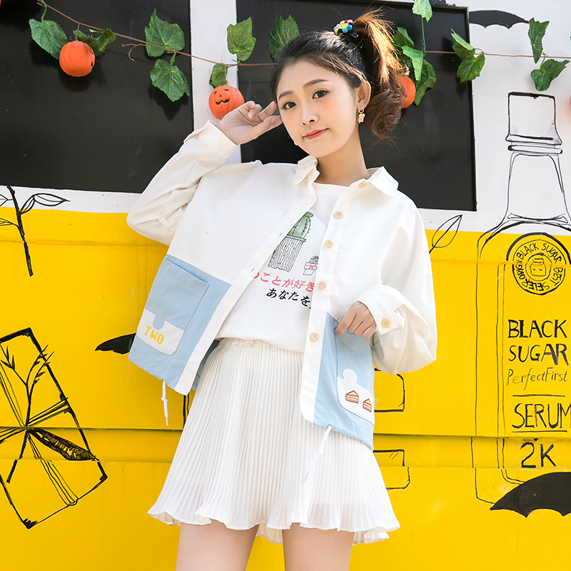 Áo khoác/Áo jacket/Áo nữ hình ngộ nghĩnh họa tiết chữ cái phong cách Nhật Bản kiểu dáng rộng rãi phong cách học sinh mẫu mới nhất phù hợp cho mùa xuân