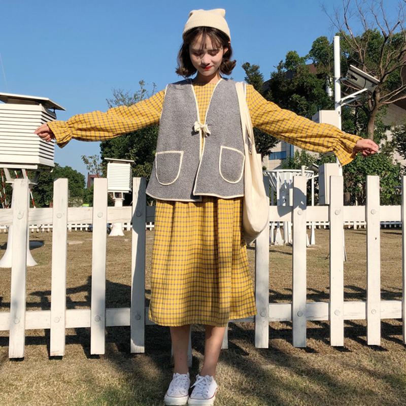 韓版秋鼕裝2017新款女裝學生中長款喇叭長袖格子連衣裙 加絨馬甲