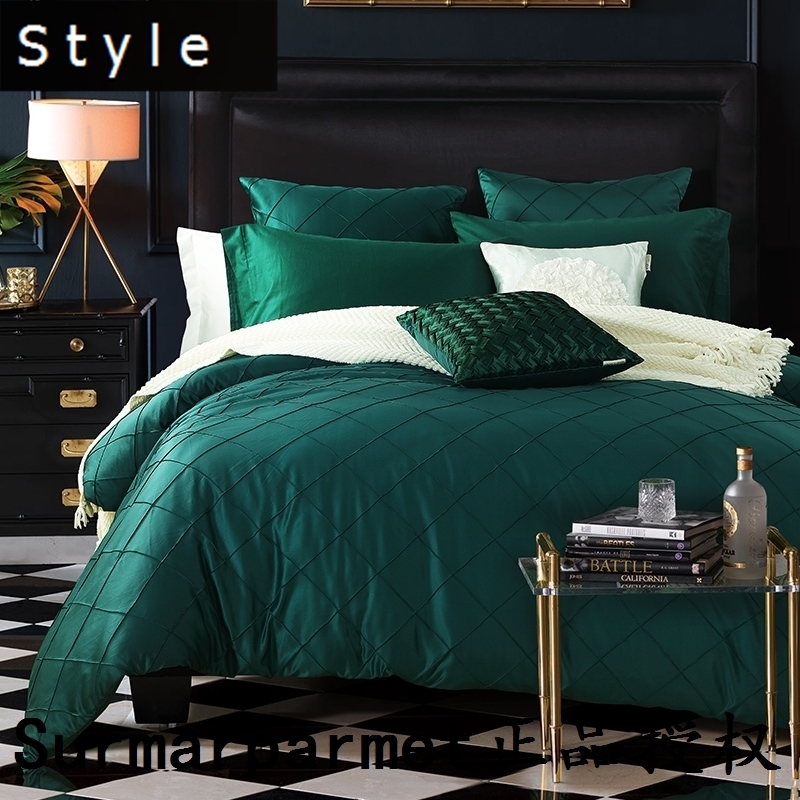 Noble green wine red silver more than sets of bedding luxury light wind European minimalist silk lattice four piece bed