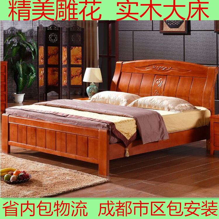 Oak wood bed double bed 1 meters 58 bed double bed hydraulic storage white bed hard bed
