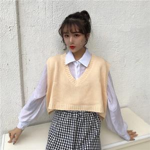 实拍秋季韩版V领宽松针织衫马甲背心短款无袖毛衣上衣外套女
