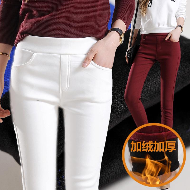 白色加絨打底褲女外穿加厚鼕天高腰彈力顯瘦小腳褲松緊腰保暖褲子