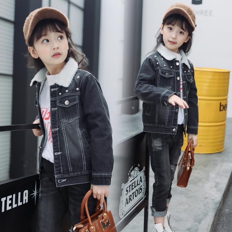 童装女童加绒牛仔外套