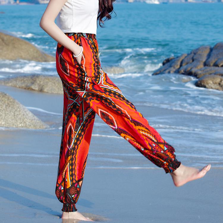 沙滩裤民族风哈伦裤女泰国花裤子波西米亚大码灯笼裤长裤海边度假