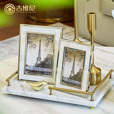 现代轻奢照片框欧式摆台相框6寸7寸贝壳个性创意组合金属装饰相架
