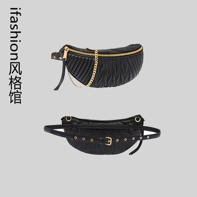 Italian pocket female 2019 new fashion multi-color pleated soft dual-use female bag pockets Messenger bag chain chest bag (意大利腰包女2019新款时尚多色褶皱软两用女包腰包斜挎包链条胸包)