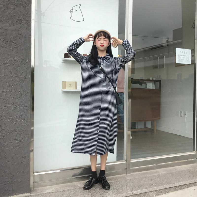 RABBITSTYLE自制 秋冬韩版chic格子宽松长袖开叉中长衬衫连衣裙女
