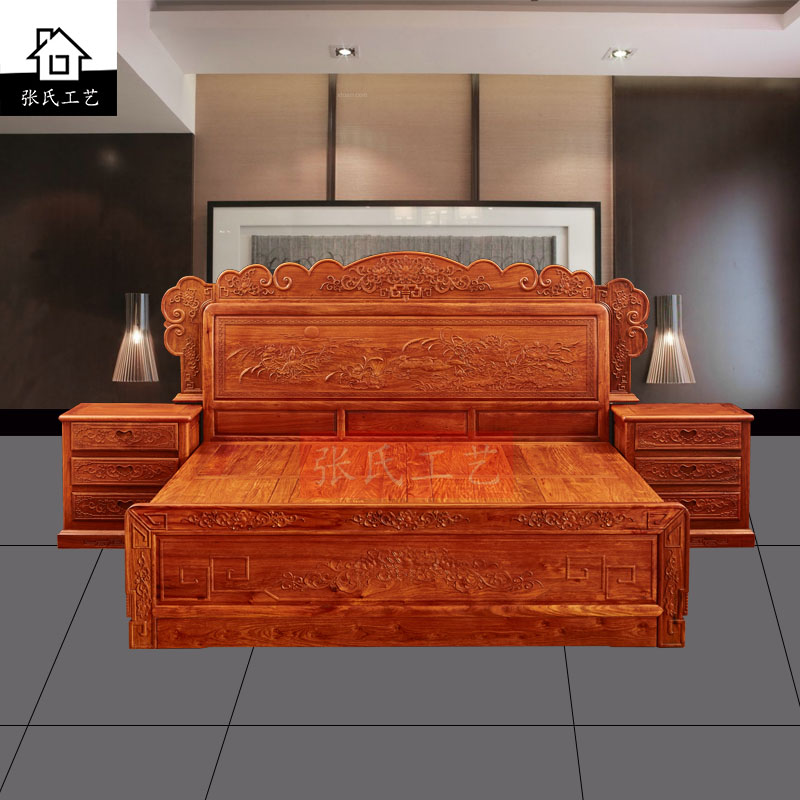 Burma rosewood mahogany furniture padauk 1.8 meters double bed full of solid wood bed Chinese Ming and Qing Dynasties