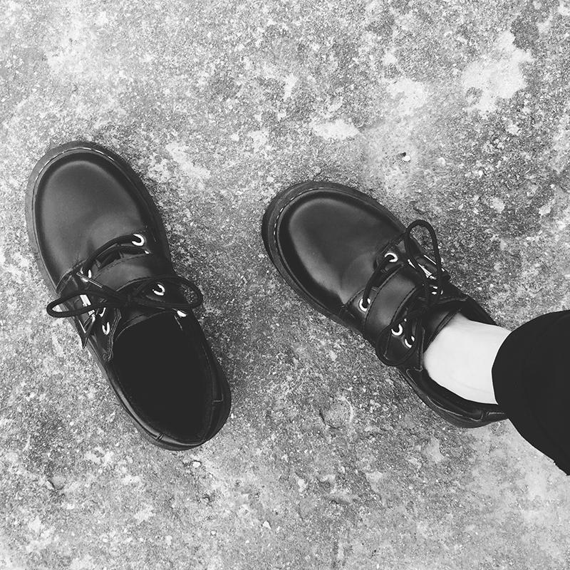 韓國春秋季原宿ulzzang小皮鞋女學生厚底單鞋復古學院風休閑女鞋