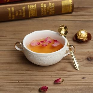 描金蝴蝶花朵双耳碗 欧式粉红浮雕西餐甜品汤盅蒸蛋燕窝盅带底碟